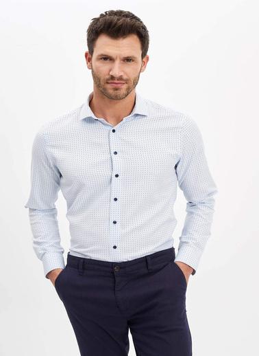 DeFacto Puantiye Desenli Slim Fit Gömlek Mavi